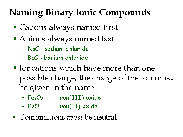 Ionic Compounds and Reactions - Dr. Wexler's Chemistry